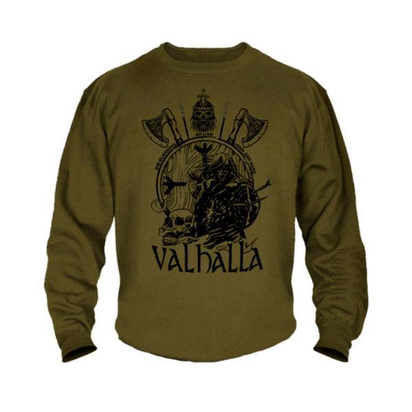 Кофта милитари хаки с принтом VALHALLA