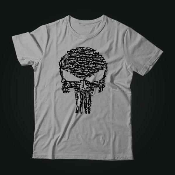Милитари футболка PUNISHER GUN серая