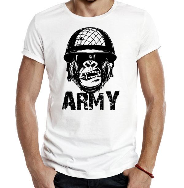 Милитари футболка ARMY MONKEY белая