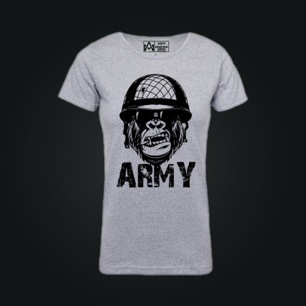 Женская футболка ARMY MONKEY серая