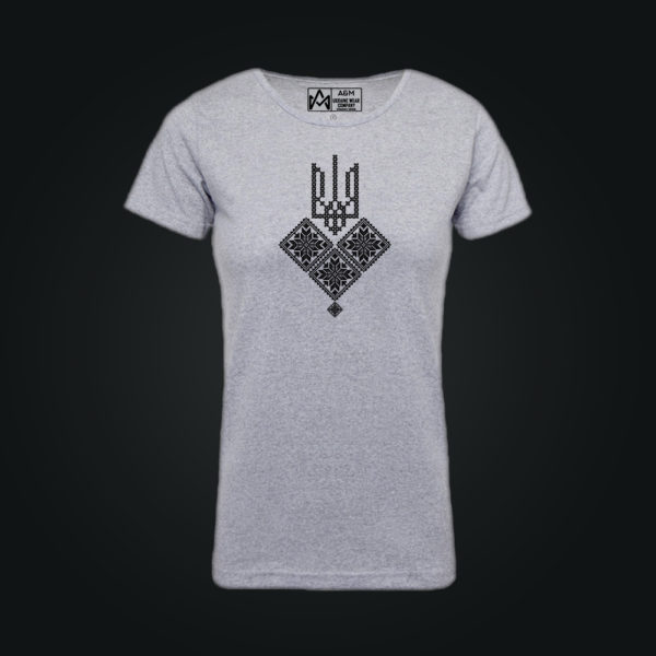 Женская футболка ТРИЗУБ С ГЕРБОМ серая