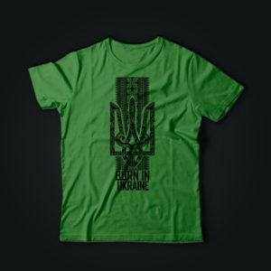 Патриотическая футболка с ГЕРБОМ олива