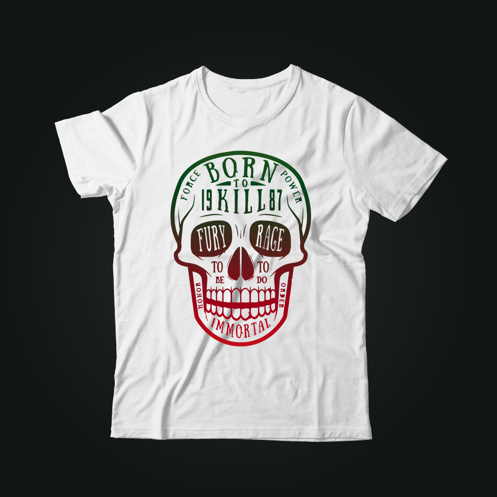 Мужская футболка с принтом BORN TO KILL