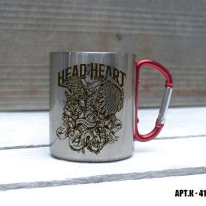 Железная кружка с карабином HEAD HEART