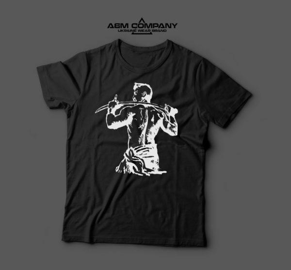 Мужская футболка черная КОЗАК