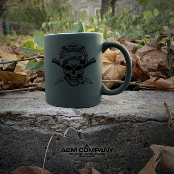 Чашка хамелеон олива с рисунком РАЗВЕДКА