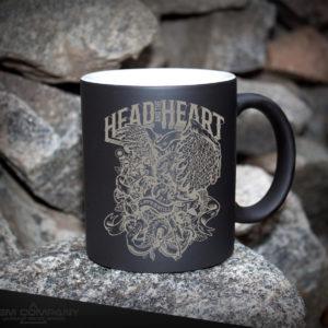 Чашка хамелеон черная HEAD HEART