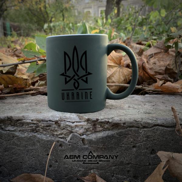 Чашка хамелеон олива с рисунком УКРАЇНА