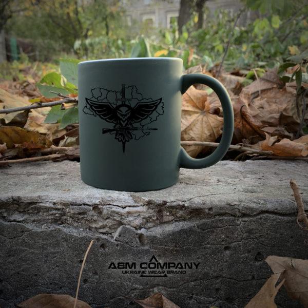 Чашка хамелеон олива с рисунком РОЗВІДКА