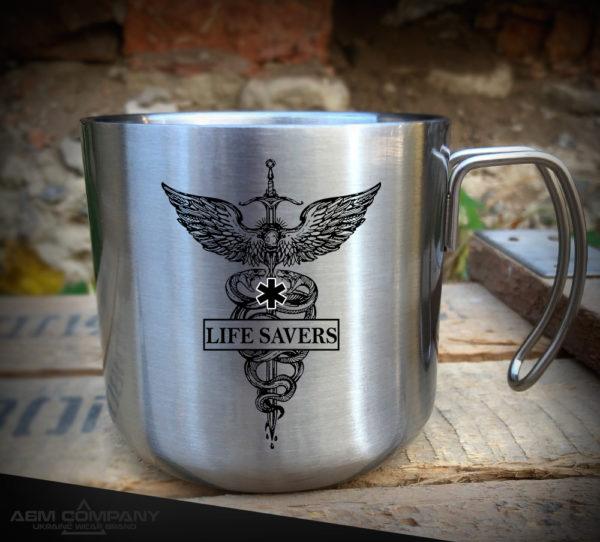Железная кружка с рисунком LIFE SAVERS