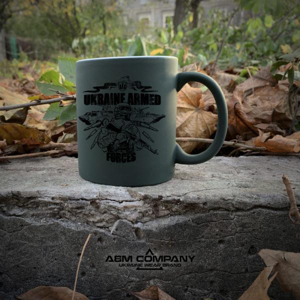 Чашка хамелеон олива с рисунком АРМІЯ