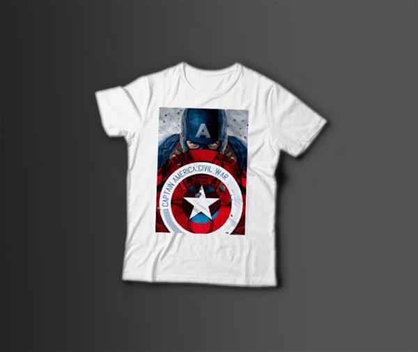 Мужская футболка с принтом КАПИТАН АМЕРИКА