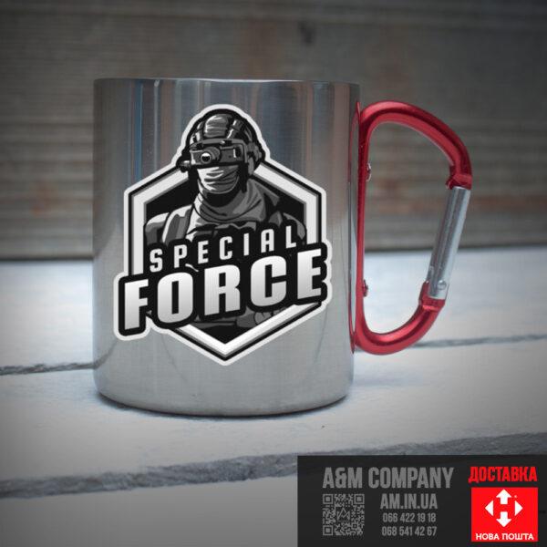 Железная кружка с карабином SPECIAL FORCES