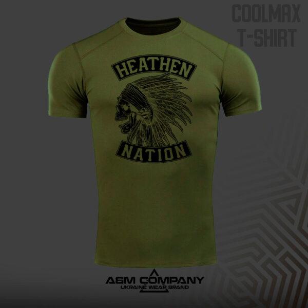 Футболка CoolMax HEATHEN NATION цвет олива