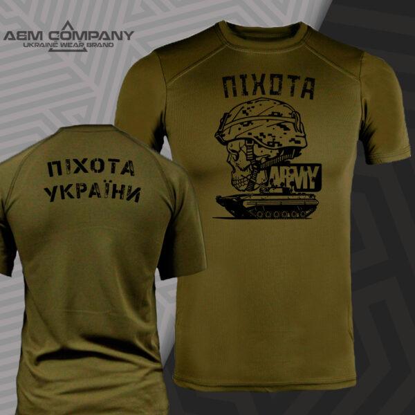 Футболка CoolMax ПІХОТА УКРАЇНИ цвет олива