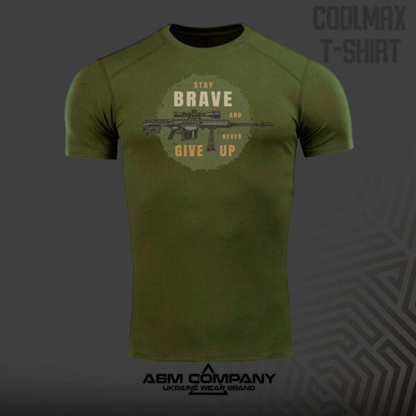 Футболка CoolMax BRAVE GIVE UP цвет олива